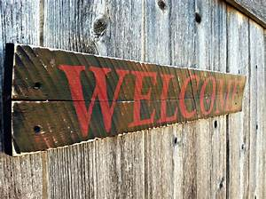 Made to order rustic distressed wall decor wooden welcome