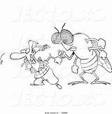 Coloring Fly Swatting Cartoon Behind Outline Flies Swatter Vector Huge Toonaday Template sketch template