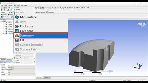 ansys design modeler symmetry basic tutorial  youtube