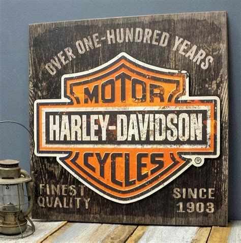 Harley Davidson Signs Decor by Harley Davidson Personalized Wood Sign With 3 D Metal
