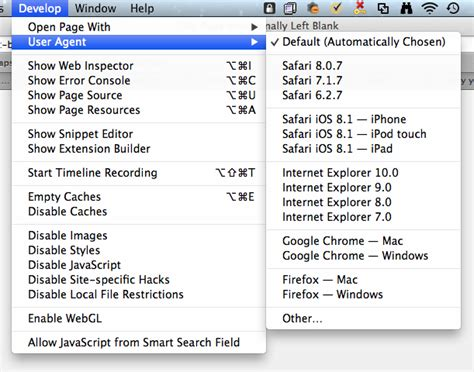 safari agent user code web webpage viewing changing source under reports change