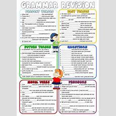 Grammar Revision *present, Past, Future Tenses, Questions, Modal Verbs, Pronouns* Worksheet