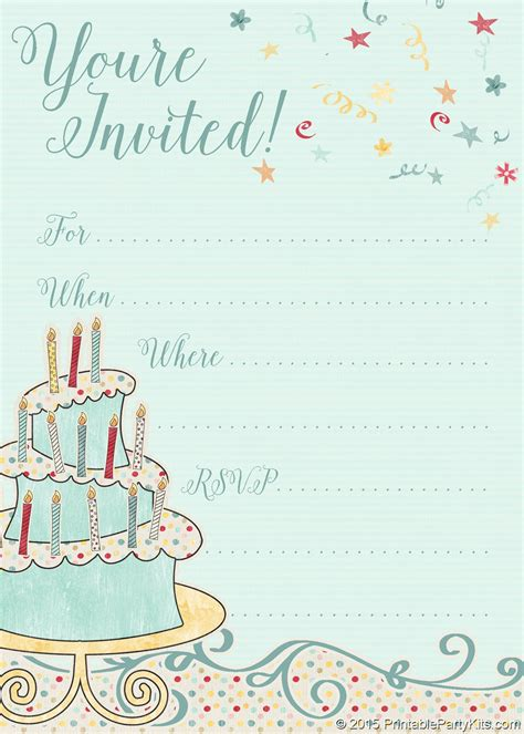 printable whimsical birthday party invitation