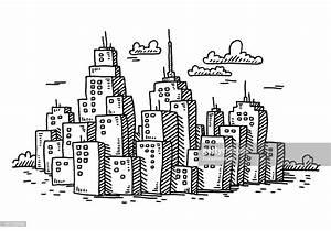 Cityscape Cartoon Skyscraper Buildings Drawing Vector Art ...