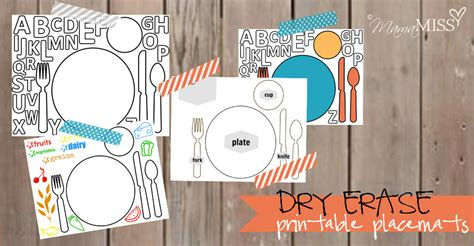 dry erase printable placemats mama