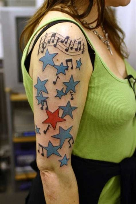 shooting red white  blue nautical star tattoo  notes blue stars  red star