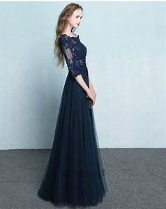 Full Length 3/4 Long Sleeves Navy Blue Tulle and Lace Prom ...