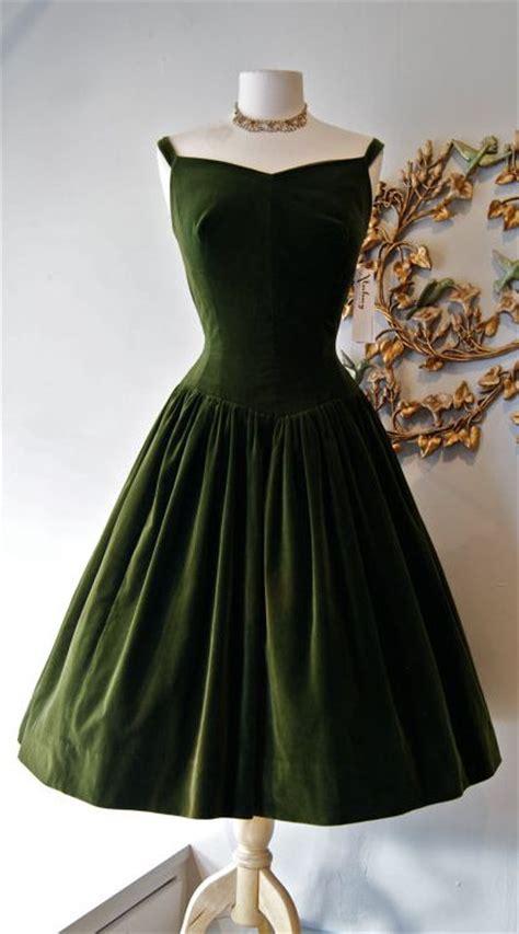 vintage prom dress dark green velvet prom dress