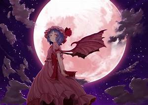 Video, Games, Clouds, Touhou, Wings, Dress, Night, Stars