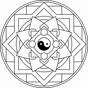 Mandala Taijitu Mandala para colorear basado en el símbolo ...