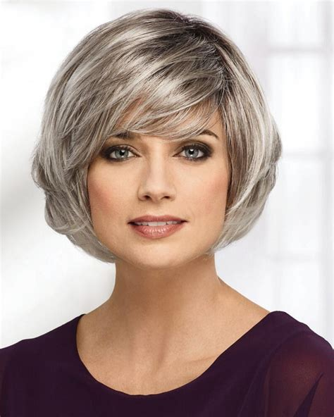 medium bob style grey hair wigs