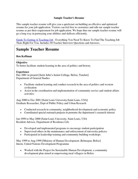 exles of resumes resume sles for application