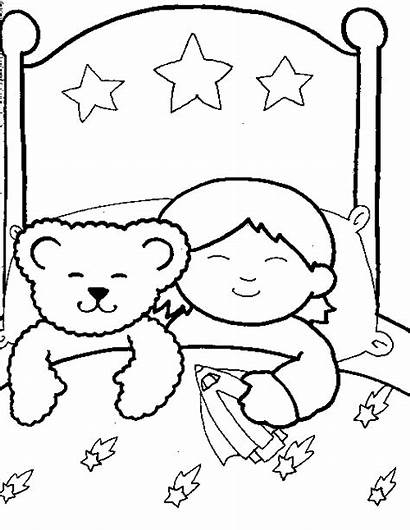 Sleeping Coloring Sleep Pages Child Boy Drawing