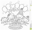 Kids Birthday Party Outline Stock Vector - Image: 52725553