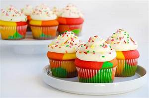 Rainbow Cupcakes with Buttercream Frosting | Just a Taste