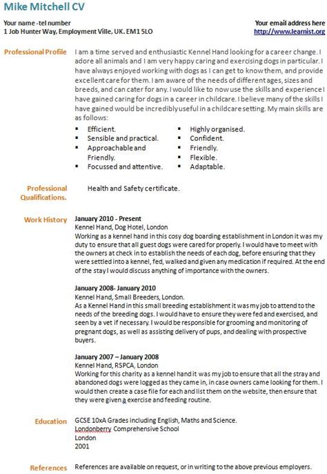 Cv Profile Exles Career Change career change cv exle template forums learnist org