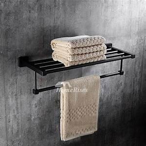 Solid Oil Rubbed Bronze Towel Rack Shelf Black Bathroom
