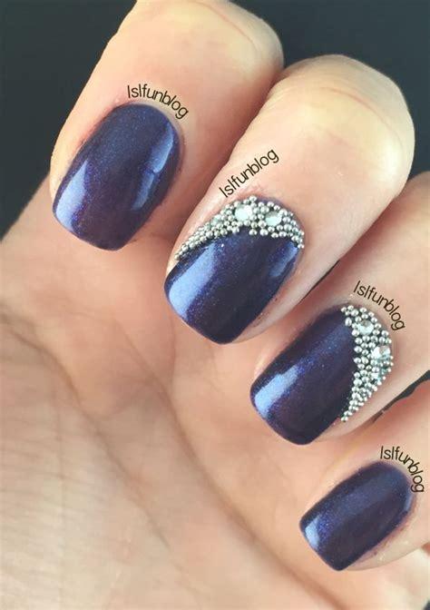 navy blue  crystals gel nail design  melodysusie