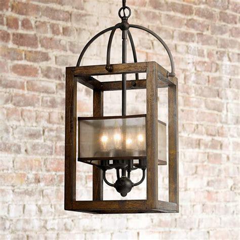 wood 12 wide iron pendant chandelier