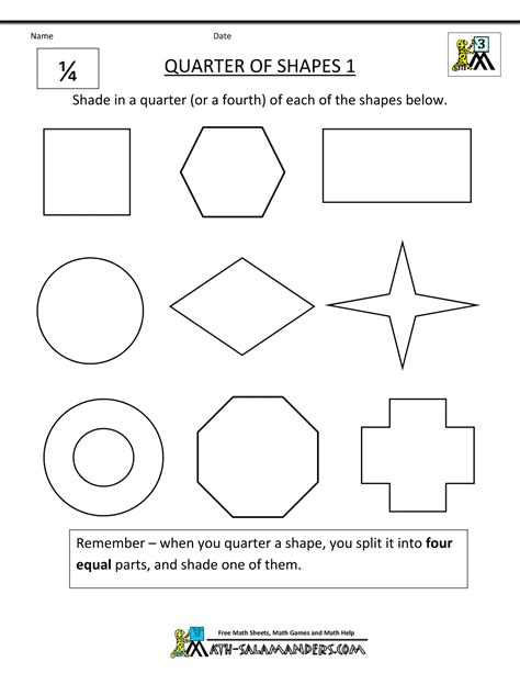 Fractions Of Shapes Worksheet  Shapes And Fractions Worksheet Education Enchantedlearning