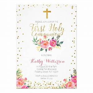 Floral girl first holy communion invitation zazzlecouk for 1st holy communion invites