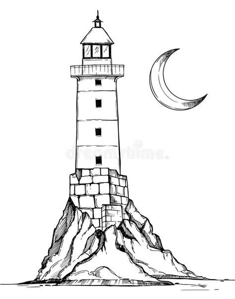 hand drawn vector illustration lighthouse   rock