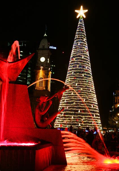 victoria square christmas tree lights adelaide town hall illumination christmas 2015 play