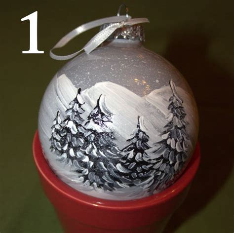 black and white hand painted christmas ornament