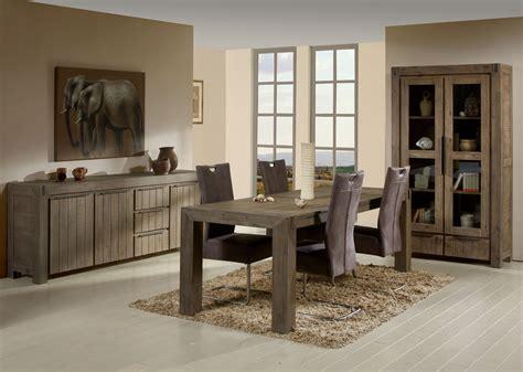 table de salle 224 manger contemporaine extensible en bois massif coloris gris brumeux kalija