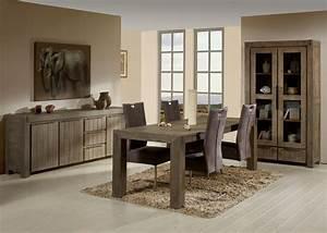 Salle à manger contemporaine en bois massif coloris gris brumeux Kalija II Salle à manger
