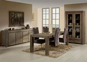 Salle a manger contemporaine en bois massif coloris gris for Deco cuisine avec meuble salle a manger bois massif