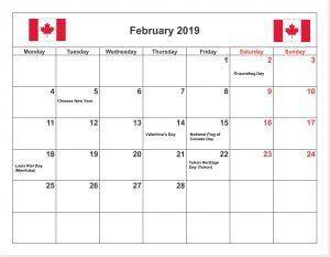 february  calendar  canada holidays february