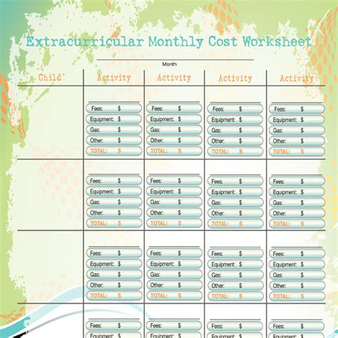 extracurricular monthly cost worksheet imom