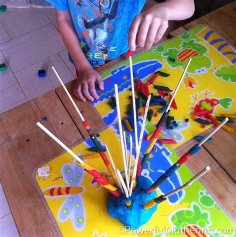 motor skills with pasta and play dough 125 | Motor Skills with Pasta and Playdough many sticks