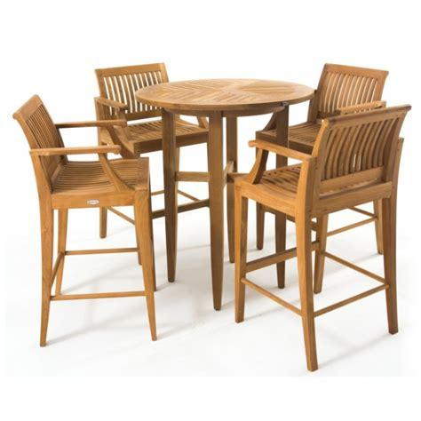 laguna teak outdoor bar stool and bar table set