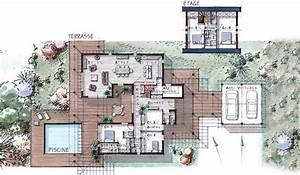 maison ossature bois a etage 184 m2 5 chambres terrasse With delightful idee de plan de maison 0 maison neuve avec piscine toit plat