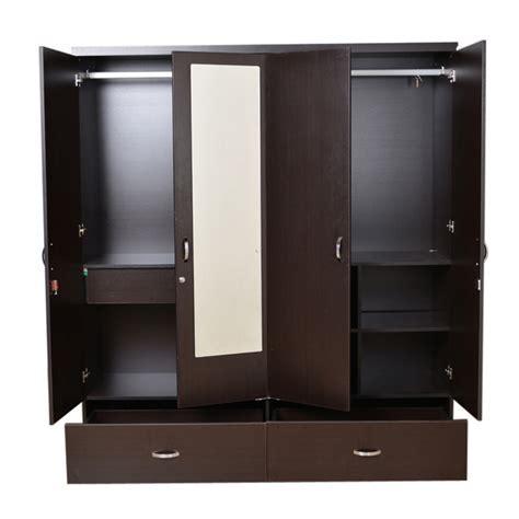 Buy Utsav Four Door Wardrobe With Mirror in Wenge Finish