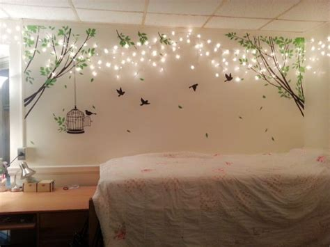 how to decorate a s bedroom lights and tree wall decoration stickers home decor