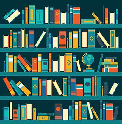 Library Shelf Vector Illustrations Background Clip Illustration