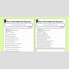 Was Or Were Subject Verb Agreement Differentiated Worksheet