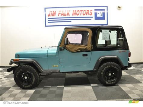 white and teal jeep 1995 teal pearl jeep wrangler s 4x4 62758206 photo 2