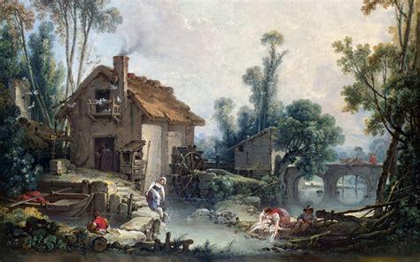 Painting, Cottage, Mill, Stream, Chimneys, Bridge, Arch