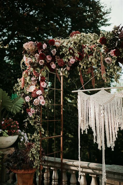 venue decor inspo fall floral boho wedding photo
