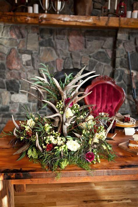 antler wedding flowers rustic english hunting wedding ideas