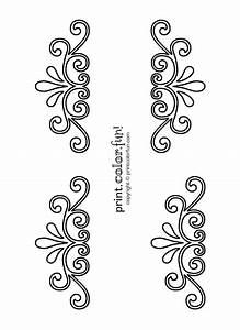 Swirl and flourish stencils coloring page - Print Color Fun!