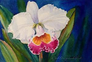 Orchid Original Watercolor Painting Tropical Flowers 4x6