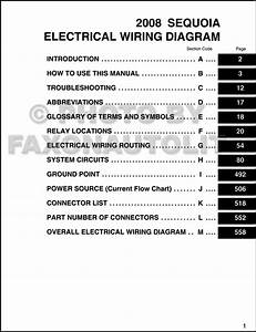2008 Toyota Sequoia Wiring Diagram Manual Original