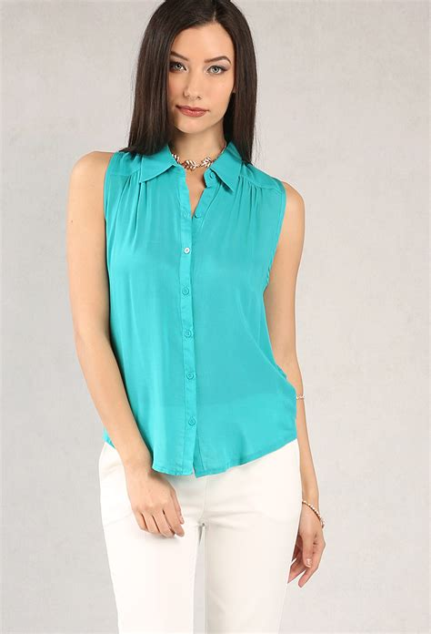 sleeveless button blouse sleeveless button up blouse shop at papaya clothing