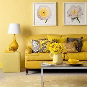 cozy living room interior design ideas with yellow sofa With living room furniture with yellow walls