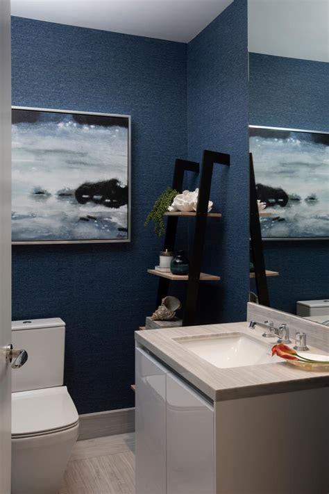 modern navy blue powder room  single vanity hgtv